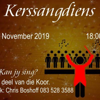 Kerssangdiens – 17 November 18:00 – Almal welkom!